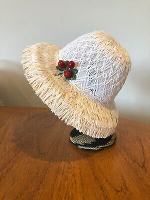 Vintage French New Old Stock Childs Summer Hat Bonnet Cute