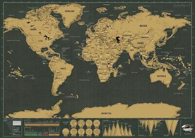 Deluxe Erase Black World Map Scratch Off Travel Decoration Wall (UK Seller)