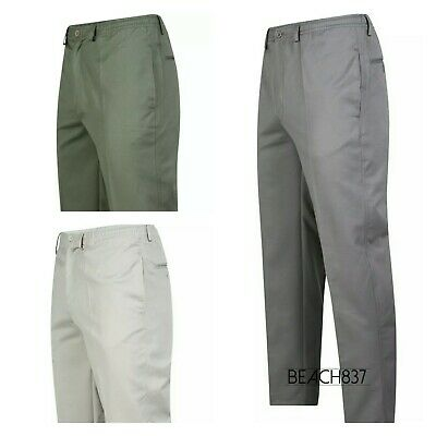 Mens Lightweight Elasticated Cotton Blend Casual Summer Trouser Size 30 to 46""