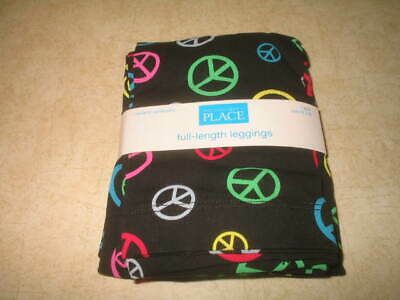 Girls The Children's Place Peace Sign Full Length Leggings - Black - M (7-8)