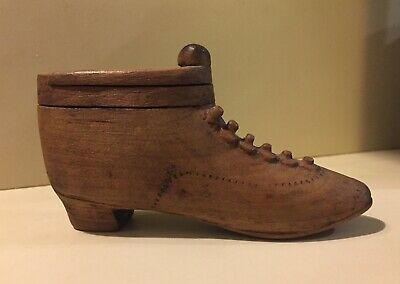 Antique Carved Wood Puzzle Box Lace Up Shoe Nice