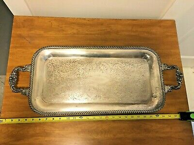 Large Heavy Silver Plated Serving Tray Ornate Vintage Antique Late 1800's?