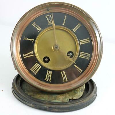 ANTIQUE FRENCH CLOCK MOVEMENT with BLACK MARBLE 2 PART DIAL