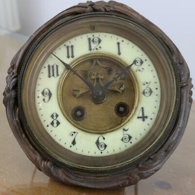 ANTIQUE FRENCH CLOCK MOVEMENT ruby paleteted visible escapement EXTENDED DIAL