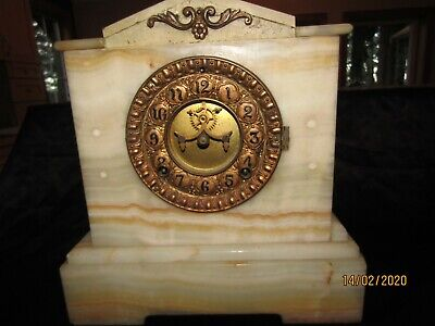 Antique French Marble Mantle Clock Ansonia 1882