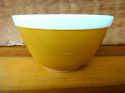 Vintage PYREX Americana Gold Small 1.5 Pint Round Mixing Bowl, #401