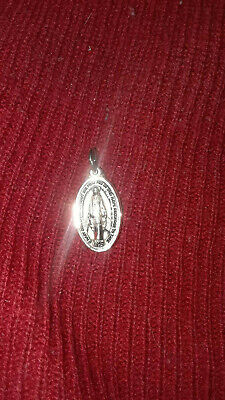 "Vintage STERLING SILVER MIRACULOUS MARY SLIDE MEDAL PENDANT 1/2"" CATHOLIC"
