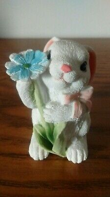 """Easter Bunny Figurine Holding A Blue Flower 3"""" Tall - Holiday Decor"""