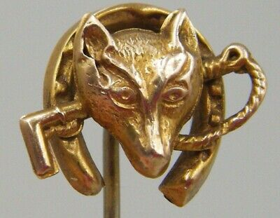 Antique Late C19th Century Victorian Era 9ct Gold Fox Head Hunting Theme Tie Pin