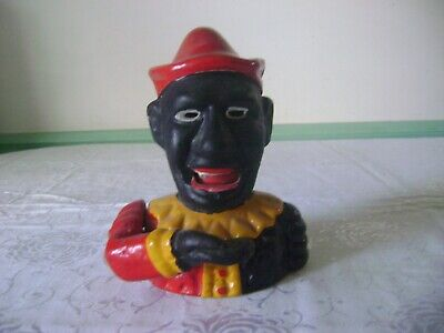 Cast Iron Black Jester Clown Joker Working Coin Bank Mechanical Reproduction