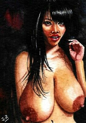 "ORIGINAL EROTIC ART WATERCOLOR HAND PAINTING ASIAN ACEO ""Immodest"" by TA"