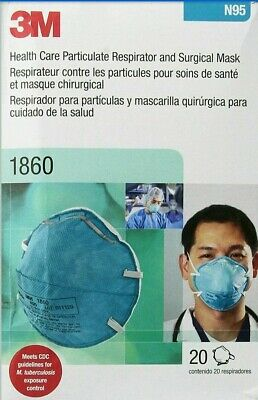 *FDA/CDC APPROVED*3M 1860 N95 Respirator, NEW BOX=20 masksVIRUS/FLU* BE PREPARED