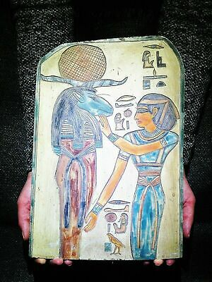 EGYPTIAN ANTIQUE ANTIQUITY Ram Headed God Amun Ra Stela Stele 1549-1292 BC