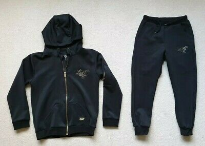 Boys Black Sonneti Tracksuit Track Top and Bottoms Set 10 11 12 Yrs