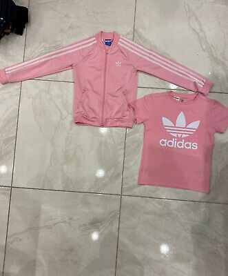 Girls Pink Adidas T Shirt And Jacket Age 9-10