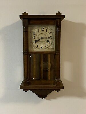Vintage Wooden Pendulum Wall Clock in Working Condition