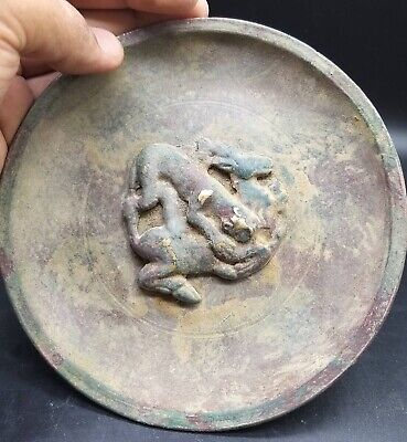 Lotus Very Old Ancient Bronze Plate Tiger Hunting Deer Hitory Relief