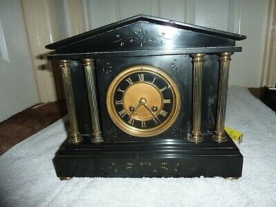 Heavy Slate Mantel Clock ; Chiming French Movement 8 day