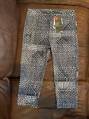 Under Armour Girls Youth Large Capri Leggings  Geometric Pattern Fitted Black Wh