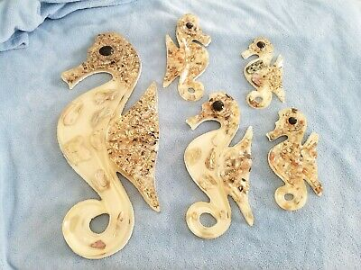 Vintage Set 5 Lucite and Abalone Seahorse Wall Plaques