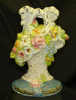 "Antique 10"" Cast Iron Doorstop Wicker Basket w/ Flowers Rose Old Original Paint"