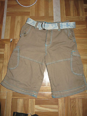 boys boy shorts age 5-6 years brown& turquoise  with belt adjustable waist
