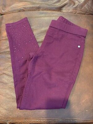 Girls JUSTICE Brand Bedazzled Jeans Mid Rise Jegging Size 12 Purple Eggplant