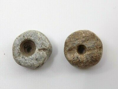 Pre-Columbian Round Stone Beads, Pair of 2, Mayan