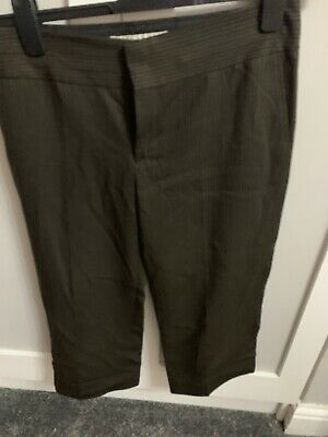 Cropped Brown Pinstripe Trousers From Zara Eur 40