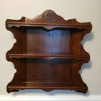 Vintage Ethan Allen Old Tavern Pine Wood Wall Hanging Plate Shelf Cupboard RARE