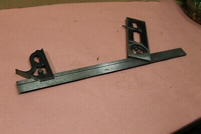 "Starrett 439-24 Builders Combination Square no 4R 24"" Protractor Square Rule"