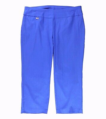 Alfani Womens Pants Crest Blue Size 14 Capris Cropped Pull On Stretch $49 228