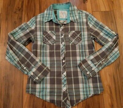 Justice Girls Gray, Blue & White Flannel Pattern Shirt size 10.