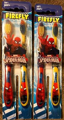 2 Packages Firefly Kids Soft Toothbrushes Ultimate Spiderman 4 Brushes Total NEW