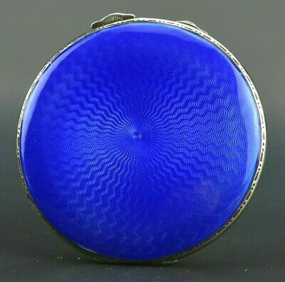 George V Period Sterling Silver and Guilloche Enamel Compact by Adie Bros