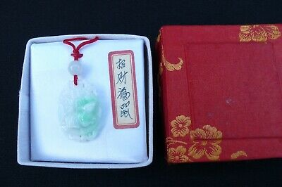 Chinese Jade Pendant with Carved Animal Figure on Front, NEW IN BOX