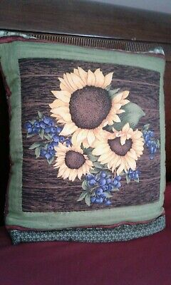 """Hand-made Quillow (Quilt in a Pillow) """"Sunflowers & Berries) Cotton Fabric"""
