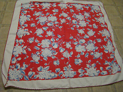 """Vtg.1950""""S(Cotton Tablecloth-White / Red W/ White Lilacs)Crocheted Edge"""