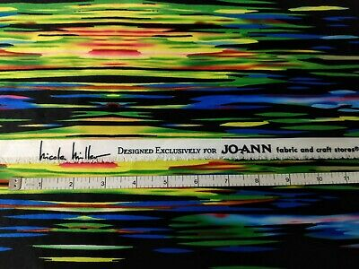 "Nicole Miller by Jo-Ann fabric Black multi-color 1 & 2/3 Yards 36"" wide Sewing"