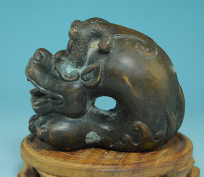 collect antique china Handwork Copper pixiu mythical creatures old statue Cc01F