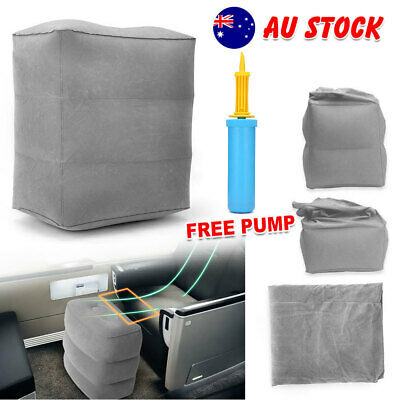 Portable Travel Inflatable Foot Rest +  Air Pump Pad Footrest Pillow Cushion