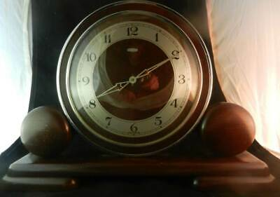 Working Vintage Metamec Art Deco Wood & Chrome Mantle Clock