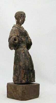 antique 18th C carved & polychrome wooden religious statue Saint / Monk