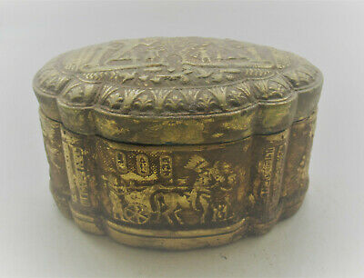 Circa 664 - 332 Bce Ancient Egyptian Gold Gilded Stone Box With Heiroglyphics