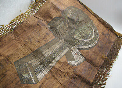 Very Rare Ancient Egyptian Papyrus And Coptic Cloth With Key Of Life