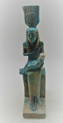 Beautiful Vintage Egyptian Glazed Faience Statuette Isis Nursing Baby Horus