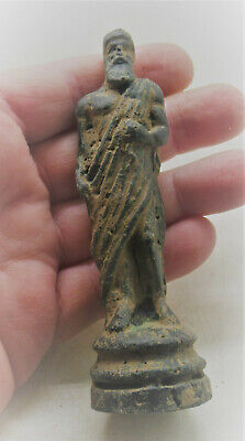 Circa 200-300Ad Ancient Roman Bronze Statuette Of A Senatorial Figure Scarce