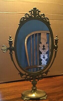 Antique Dressing table  brass Art Nouveau stand  Mirror