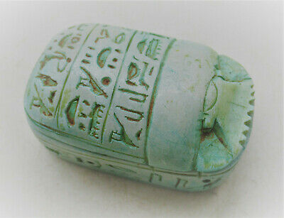 Circa 644-332Bce Ancient Egyptian Glazed Faience Scarab Coffin With Heiroglyphs