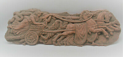 Late Roman Early Byzantine Terracotta Plaque Depicting Chariot And Rider